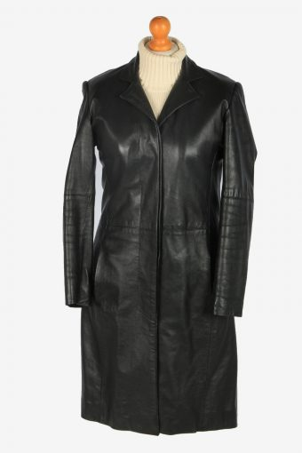 Womens Leather Jacket Overcoats Vintage Size M Black C2385