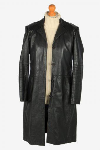 Womens Leather Jacket Overcoats Vintage Size M Black C2385-157287