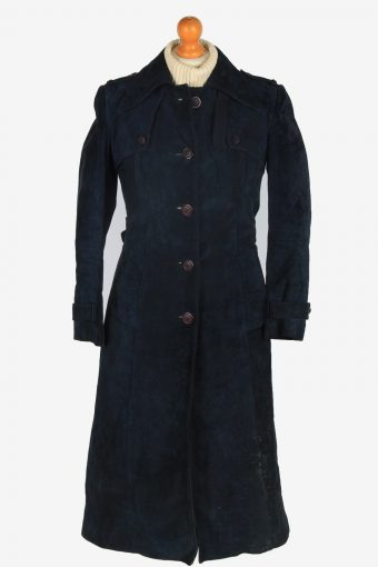 Womens Suede Leather Jacket Overcoats Vintage Size S Navy C2387