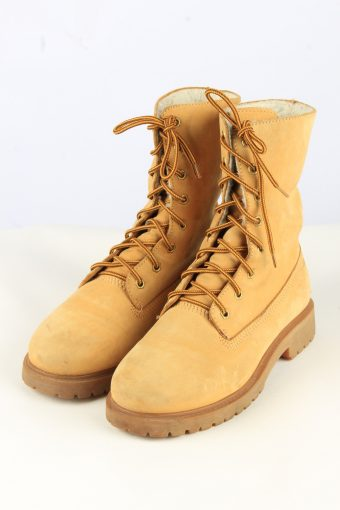 Lace Up Leather Boot Vintage Womens 38 Camel -Shoes_842-155198