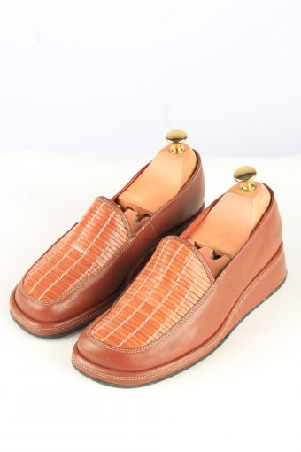 Leather Shoes Vintage Womens 38 Brown -Shoes_841-155194