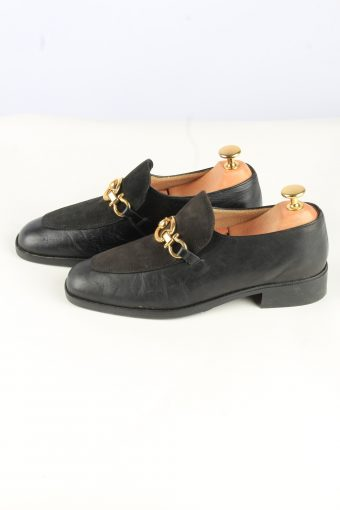 Buckle Leather Shoes Vintage Womens 38 Black -Shoes_843-155202
