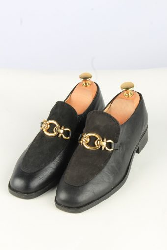 Buckle Leather Shoes Vintage Womens 38 Black