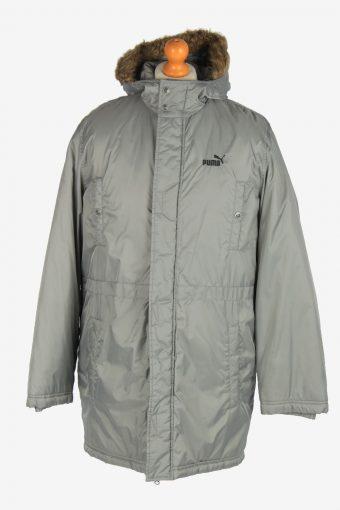 Mens Puma Long Puffer Jacket Padded Fur Vintage Size M Grey C2512
