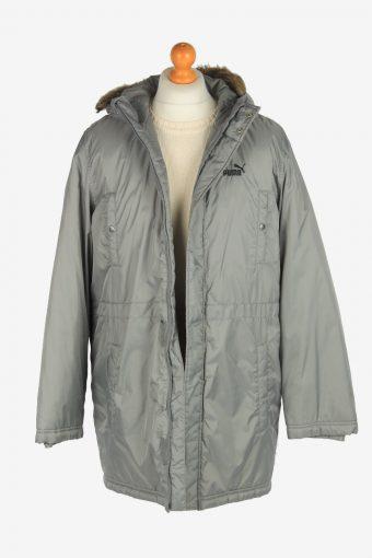 Mens Puma Long Puffer Jacket Padded Fur Vintage Size M Grey C2512-158190