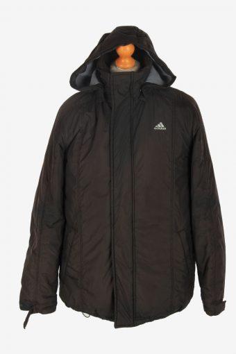 Mens Adidas Puffer Jacket Vintage Size S Black C2442