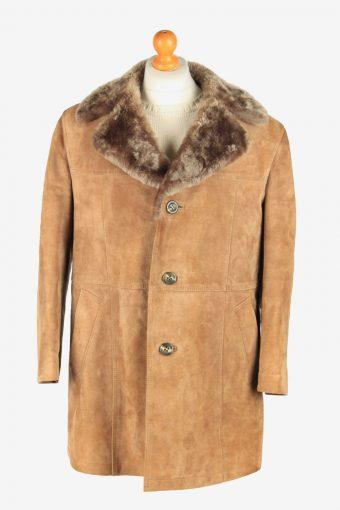 Mens Suede Real Sheepskin Coat Shearling Vintage Size L Light Brown C2599