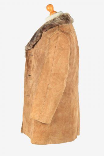 Mens Suede Real Sheepskin Coat Shearling Vintage Size L Light Brown C2599-158682