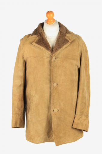 Mens Suede Real Sheepskin Coat Shearling Vintage Size M Coffee C2605