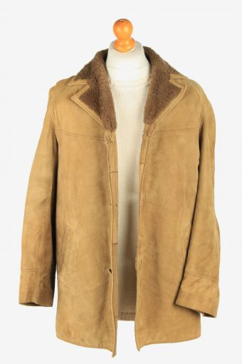 Mens Suede Real Sheepskin Coat Shearling Vintage Size M Coffee C2605-158712