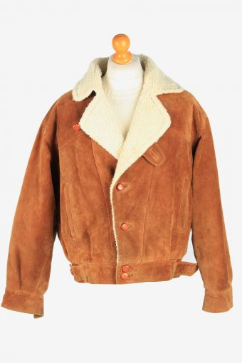 Mens Suede Real Sheepskin Coat Shearling Vintage Size M Brown C2606