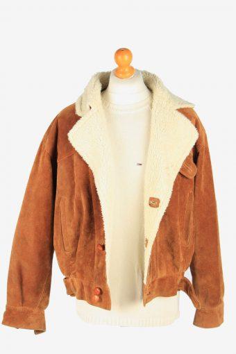 Mens Suede Real Sheepskin Coat Shearling Vintage Size M Brown C2606-158717
