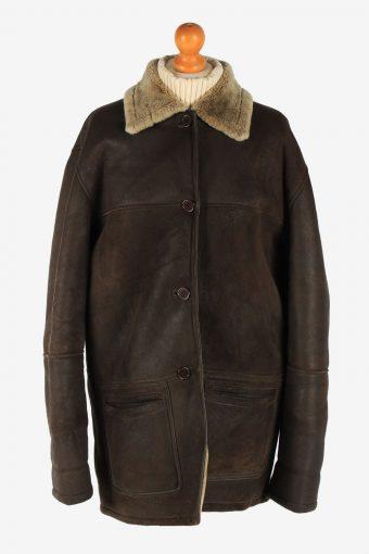 Sheepskin Coat  Shearling Fur Neck Ladies Vintage Size L Dark Brown C2309