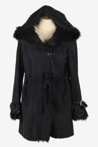 Womens Armani Suede Real Sheepskin Coat Fur Collar Vintage Size XS Black C2539