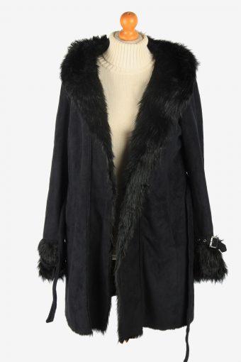 Womens Armani Suede Real Sheepskin Coat Fur Collar Vintage Size XS Black C2539-158356
