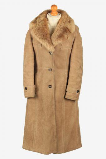 Womens Suede Real Sheepskin Long Coat Fur Collar Vintage Size M Light Brown C2552