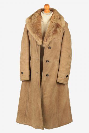 Womens Suede Real Sheepskin Long Coat Fur Collar Vintage Size M Light Brown C2552-158421