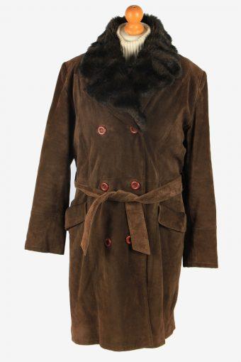 Womens Suede Real Sheepskin Long Coat Fur Collar Vintage Size XL Dark Brown C2555