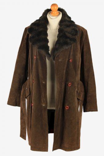 Womens Suede Real Sheepskin Long Coat Fur Collar Vintage Size XL Dark Brown C2555-158436