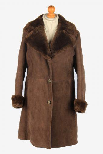 Womens Suede Real Sheepskin Long Coat Fur Collar Vintage Size M Brown C2558