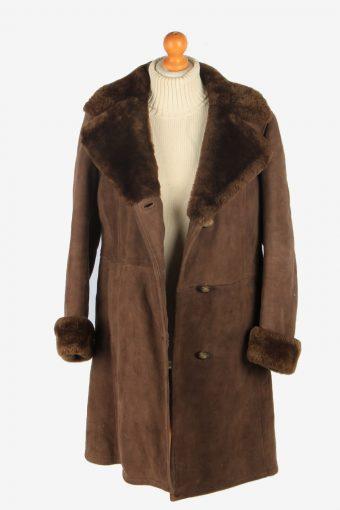 Womens Suede Real Sheepskin Long Coat Fur Collar Vintage Size M Brown C2558-158459