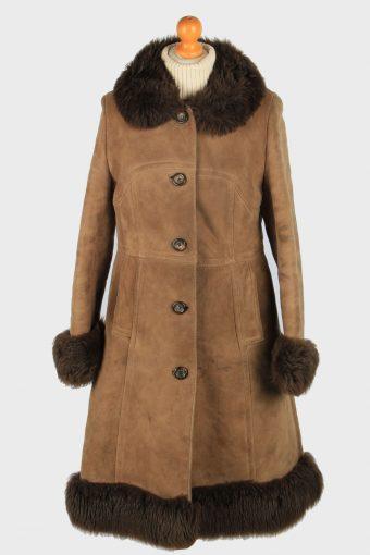 Womens Suede Real Sheepskin Long Coat Fur Collar Vintage Size M Brown C2559