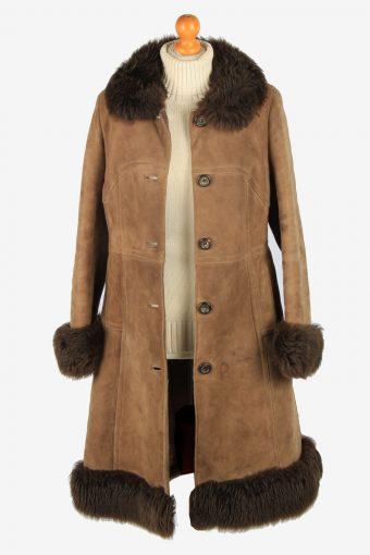 Womens Suede Real Sheepskin Long Coat Fur Collar Vintage Size M Brown C2559-158464