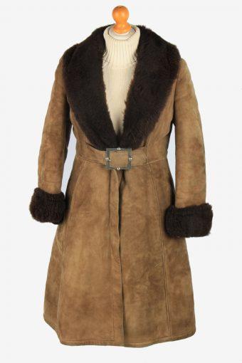 Womens Suede Real Sheepskin Long Coat Shearling Vintage Size L Light Brown C2561