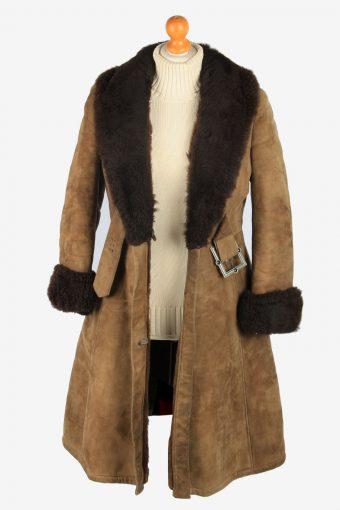 Womens Suede Real Sheepskin Long Coat Shearling Vintage Size L Light Brown C2561-158474