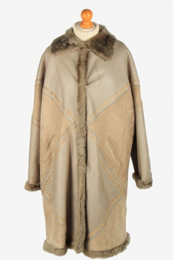Womens Suede Real Sheepskin Coat Shearling Vintage Size XXL Multi C2566