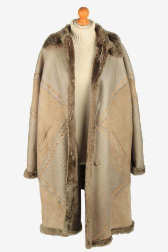 Womens Suede Real Sheepskin Coat Shearling Vintage Size XXL Multi C2566-158499