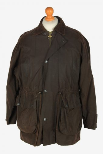 Mens Classic  Waxed Jacket Vintage Size S Dark Brown C2392