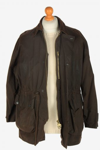 Mens Classic Waxed Jacket Vintage Size S Dark Brown C2392-157323