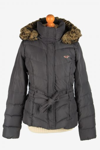 Womens Hollister Puffer Padded Jacket Vintage Size L Dark Grey C2672