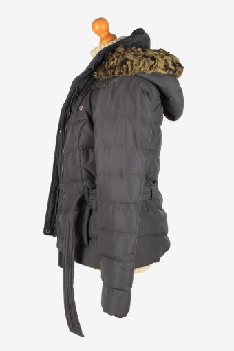 Womens Hollister Puffer Padded Jacket Vintage Size L Dark Grey C2672-159091
