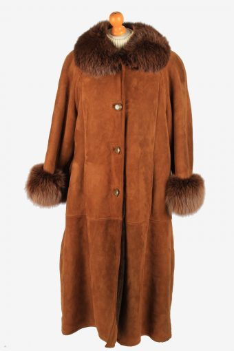 Women's Real Suede Long Coat Shearling Vintage Size XL Brown C2641