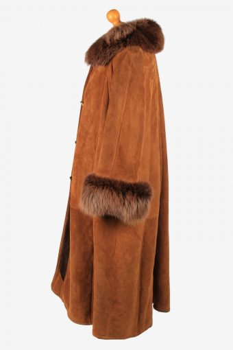 Women's Real Suede Long Coat Shearling Vintage Size XL Brown C2641-158892