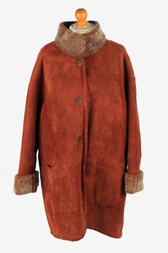 Women's Real Suede Coat Shearling Vintage Size XXL Brown C2642