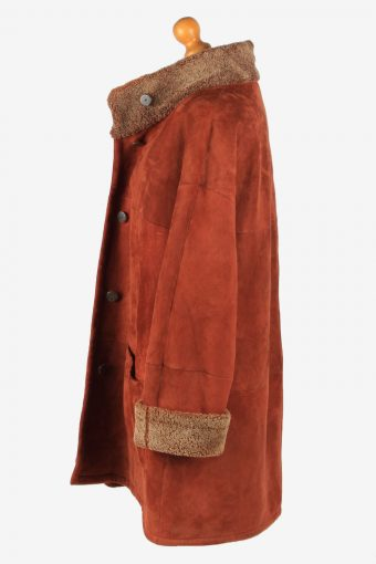 Women's Real Suede Coat Shearling Vintage Size XXL Brown C2642-158897