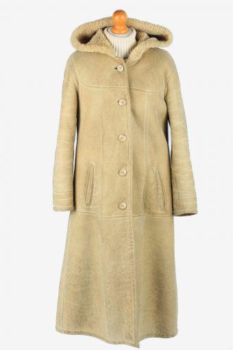Women's Sheepskin Long Coat Shearling Vintage Size M Beige C2645