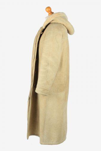 Women's Sheepskin Long Coat Shearling Vintage Size M Beige C2645-158912