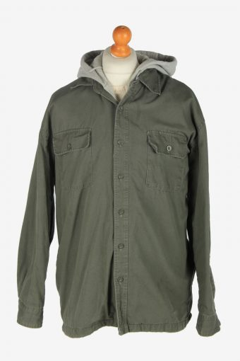 Mens Cold Storage Hooded Shirt Jacket Vintage Size L Green C2463