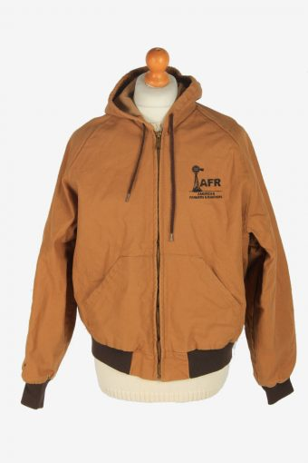 Mens Hoodies Jacket Vintage Size L Brown C2470