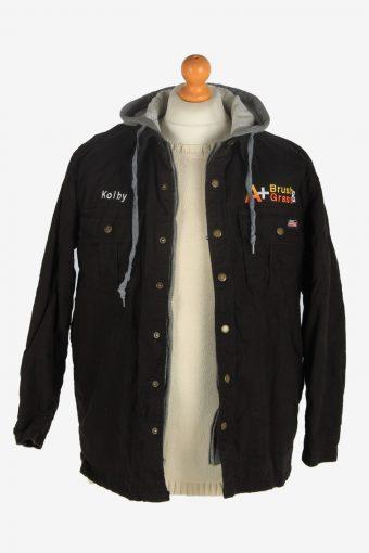 Mens Dickies Hooded Workwear Jacket Vintage Size S Black C2480-157776