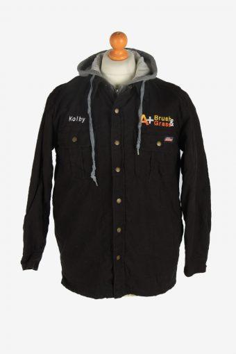 Mens Dickies Hooded Workwear Jacket Vintage Size S Black C2480