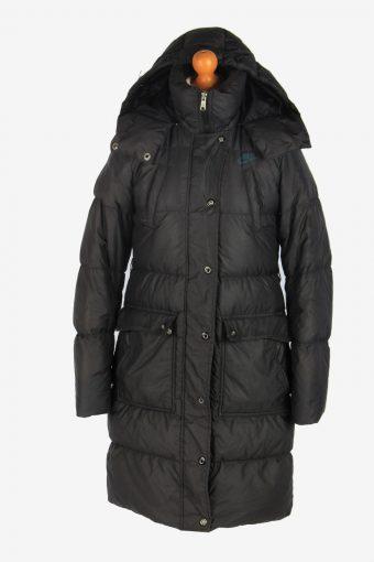 Womens Long Nike Puffer Jacket Padded Vintage Size S Black C2487