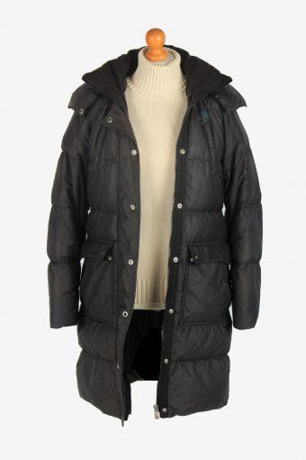 Womens Long Nike Puffer Jacket Padded Vintage Size S Black C2487-157916