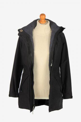 Womens Jack Wolfskin Long Outdoor Jacket Vintage Size XS Black C2488-157921