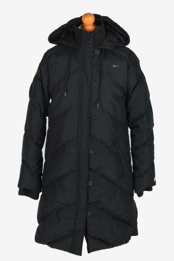 Womens Nike Long Puffer Jacket Padded Vintage Size M Black C2497