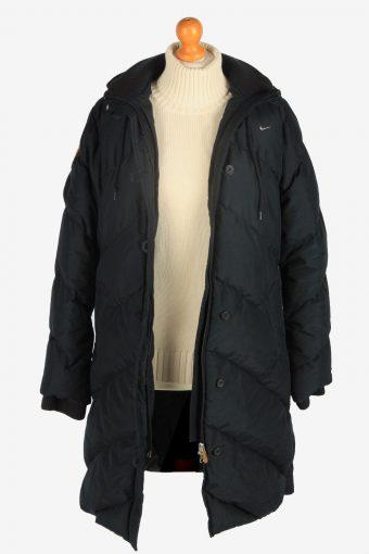Womens Nike Long Puffer Jacket Padded Vintage Size M Black C2497-157966